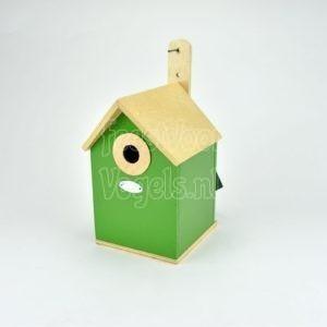 Houten nestkast, groen gelakt