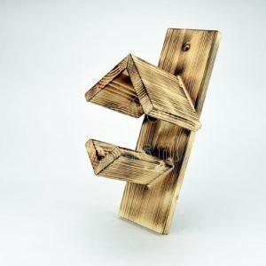 Vogelpindakaaspothouder van gebrand hout