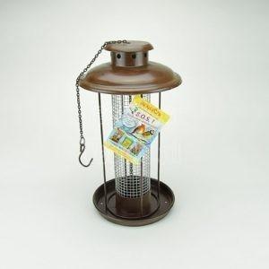 Lantaarn feeder voor pinda's, bruin gecoat metaal