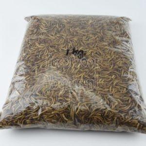 Gedroogde meelwormen, 1 kg. in een ritssluiting zak