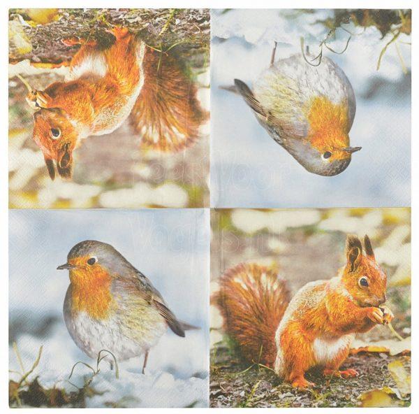 Servetten met eekhoorn en roodborstje, Esschert Design