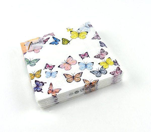 Ambiente servetten, butterfly white.