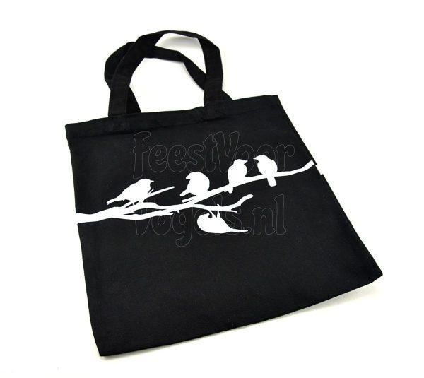 Canvas tas met vogels op tak, zwart