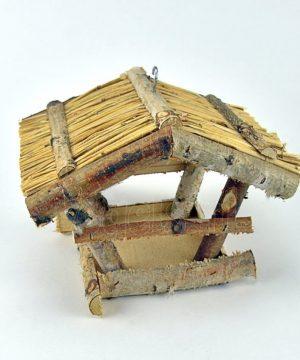 Hangend vogelhuisje met rieten dak
