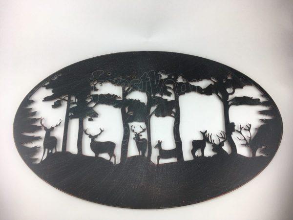 Metalen wand decoratie met afbeelding herten in het bos