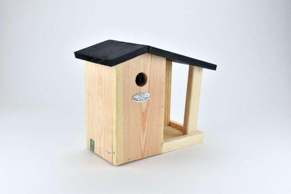 Nestkast voor mezen met voedertafel