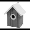 Vogelnestkast zwart met wit dak.