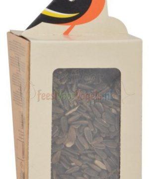 zonnepitten in karton zwart vogel